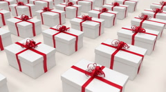 Stock Video Footage of White gift boxes. (loop-ready file).