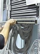assembly network patch panels - stock photo