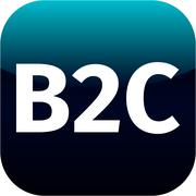 Blue business to customer icon B2C for web or phone app Stock Illustration