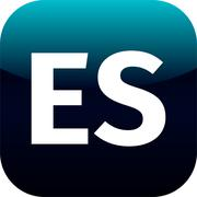 ES domain icon, spain, blue, international - stock illustration