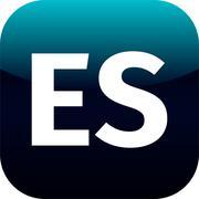 ES domain icon, spain, blue, international Stock Illustration