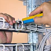 assembly network patch panels, rear view - stock photo