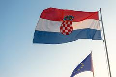 Stock Photo of Flag of Croatia and the european union
