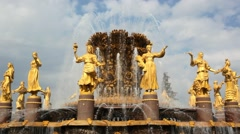 Famous fountain of friendship Of the nations. Moscow. HD. 1920x1080 Stock Footage