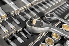 Toolkit of various tools - stock photo