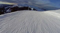 Ski slope and mountains in sunny day, pov, Austria, Alps HD Stock Footage