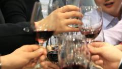 Group of people toasting at a celebration and clinking their glasses together Stock Footage