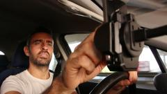 Driver use his mobile phone and driving Stock Footage