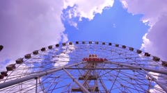 Attraction Ferris Wheel on a background of blue sky. HD. 1920x1080 Stock Footage