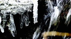 Small creek with snow and ice Stock Footage