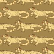 Sketch fancy iguana in vintage style - stock illustration