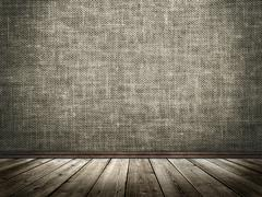 Cloth wall and wooden floor in a grunge style Stock Photos