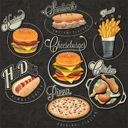 Stock Illustration of Retro vintage style fast food designs.