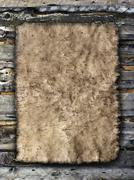 Old sheet of parchment on a grungy wooden background Stock Photos