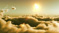 Flight over clouds, sunset time Stock Footage
