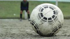 Football goal shot, closeup Stock Footage