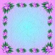 Pink-and-blue grungy background with floral ornament Stock Illustration
