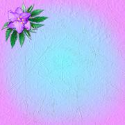 Pink-and-blue grungy background with flower violet Stock Illustration