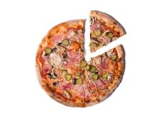 Delicious Italian pizza with ham, cucumber, and onion with a slice removed Stock Photos