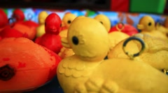 Close  up of floating yellow rubber duckies. HD. 1920x1080 Stock Footage