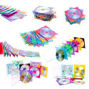 a set of multiple CD and DVD isolated on white background - stock photo