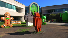 Establishing shot of Google Headquarters in silicon valley, California. - stock footage