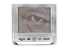 Big eye on tv - stock photo