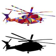 Polygon Military Helicopter Icon - stock illustration