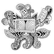 Zentangle Technology Icon Stock Illustration