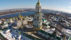 Aerial view of Kiev-Pechersk Lavra at winter Stock Footage