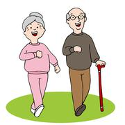 Senior Citizens Walking - stock illustration