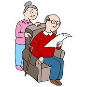 Seniors Reading Document - stock illustration