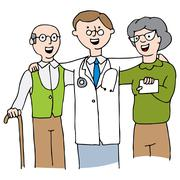 Doctor with Elderly Couple - stock illustration