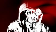 Gas mask (double with red) Stock Footage