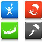 Skydiving Icon Set Stock Illustration
