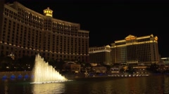 Bellagio Fountains - romantic moments at nightime, Las Vegas, Nevada - stock footage