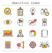 Flat line icons set of small business planning development, startup key elements Stock Illustration