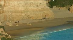 People on the beach Praia da Marinha - Navy Beach Stock Footage