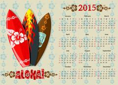 Vector Aloha calendar 2015 with surf boards - stock illustration