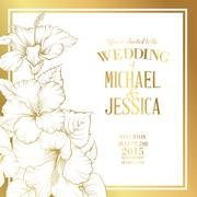 Wedding invitation text - stock illustration