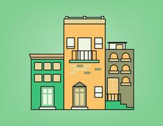 Colorful small town - stock illustration