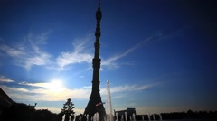 Ostankino TV tower in Moscow. Fountain on foreground and sunset sky On Stock Footage