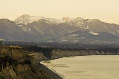Olympic mountains and Dungeness Spit - stock photo