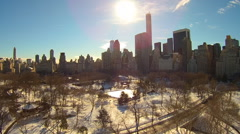 Central Park New York Winter aerials Stock Footage