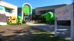 Establishing shot of Google Headquarters in silicon valley, California. Arkistovideo