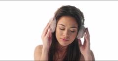 4k woman ears warmers Stock Footage