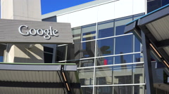 Establishing shot of Google Headquarters in silicon valley, California. Stock Footage