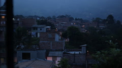 Night view of Latin American neighborhood - stock footage