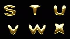 Stock Video Footage of loop alpha matted golden alphabet