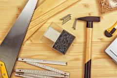 Assorted Woodwork and Carpentry or Construction Tools Stock Photos